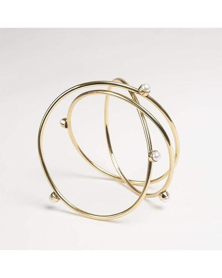 Cornelia Webb Triple Wire Bracelet With Pearls - Gold