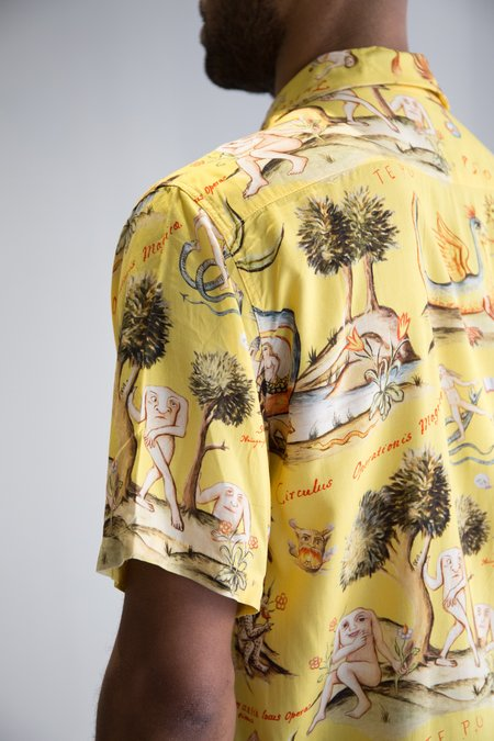 Endless Joy Rayon Prima Materia Aloha Shirt - YELLOW