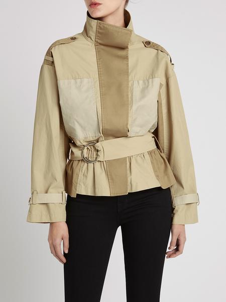 FRAME Denim Tonal Blocked Jacket - Tan