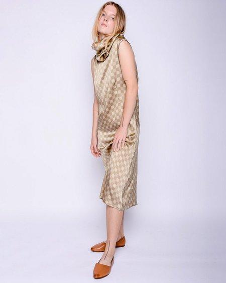 Baserange Ozum Silk Dress - Green Checks
