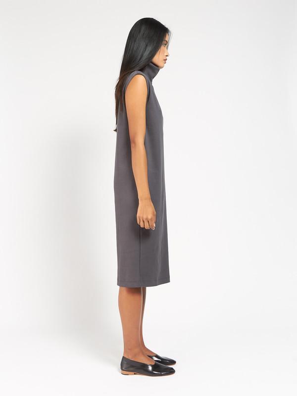 Kowtow Rib Roll Neck Dress Charcoal