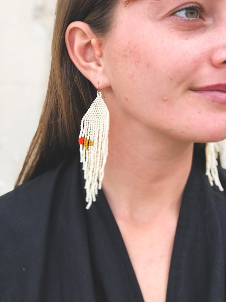 Salihah Moore Ecru Earrings - Orange/Fallow