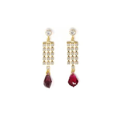 Joomi Lim Asymmetrical 3 Row Crystal Fringe Crystal Charms Earrings - Brass/16k Gold plated