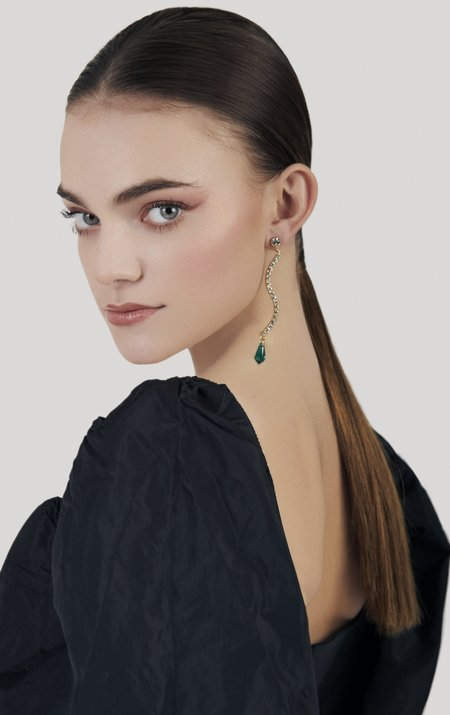 Joomi Lim Asymmetrical Curved Earrings w/ Crystal Charms