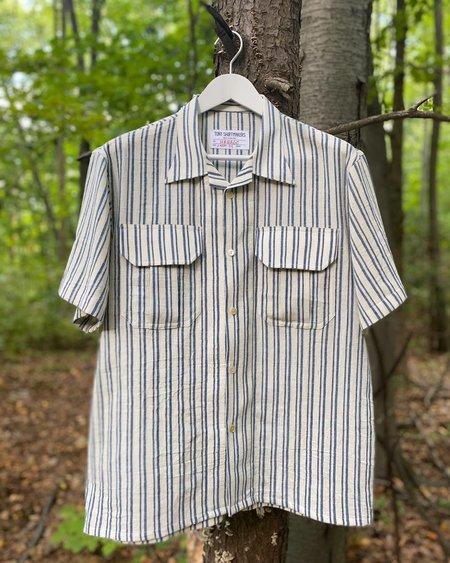 Tony Shirtmakers Kala Cotton Thick and Thin Striped Camp Shirt