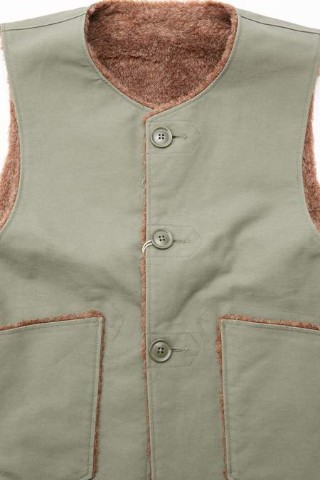 Engineered Garments Cotton Double Cloth Over Vest - Olive