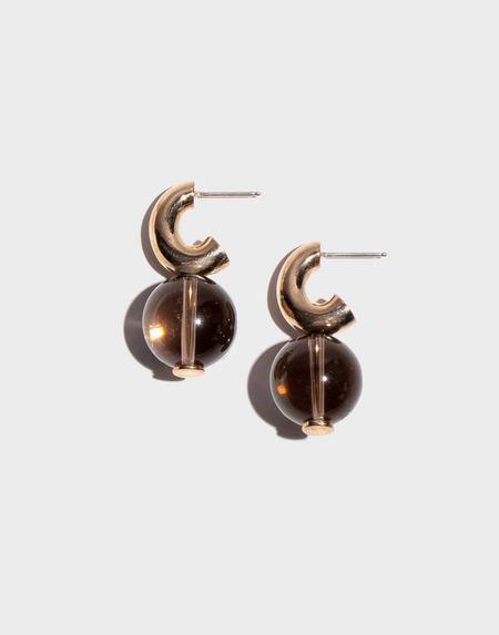 Modern Weaving Petite C- Curve Hoop Earrings - Smoky Quartz