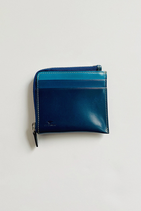 Il Bussetto Contrast Small Zip Wallet - Blue/Teal