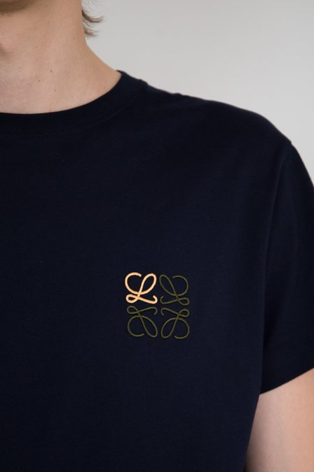 LOEWE Cotton Embroidered Anagram T-Shirt - Navy Blue
