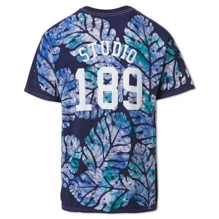 Unisex Studio One Eighty Nine Big Leaf Cotton Hand-Batik S189 T-shirt - Navy/Blue