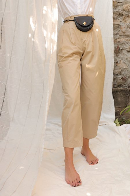Grey Lab Pleated Slouchy Trousers - Beige