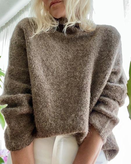 FForm Mock Neck Boxy Sweater - Brown