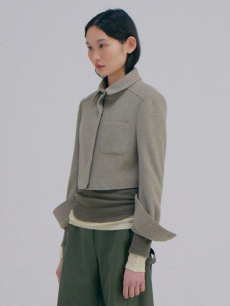 Wnderkammer Knitted Crop Jacket - Light Grey