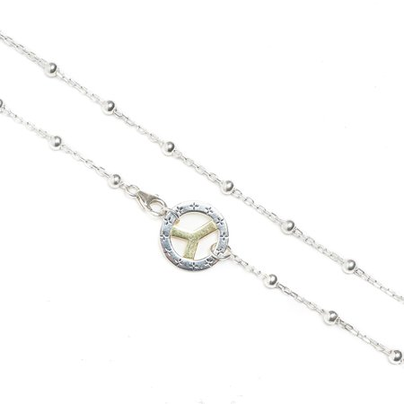 Maple Bead Link Chain + Wheel Necklace - Silver 925/14k Gold