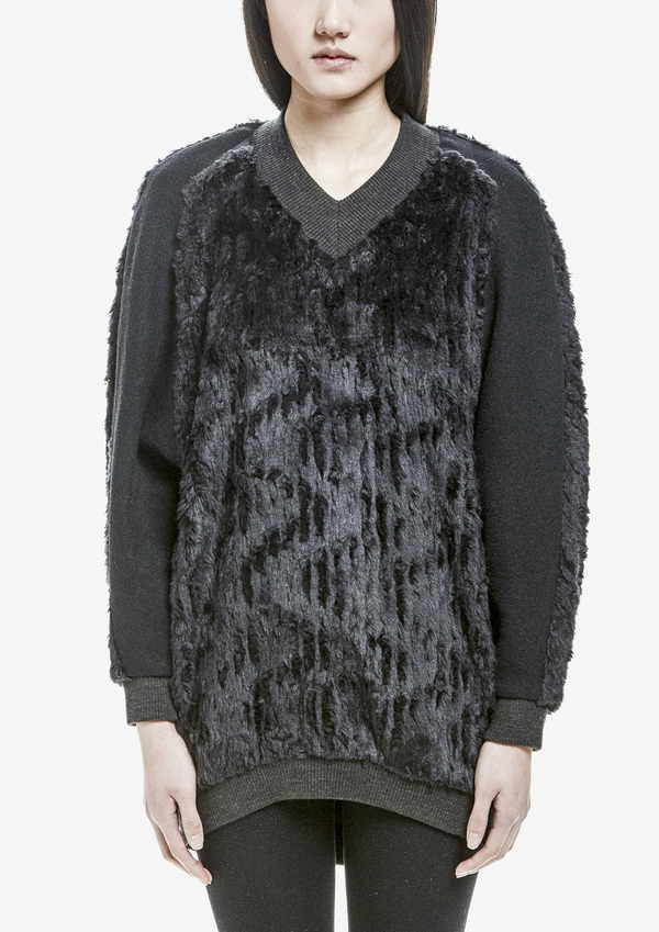 Berenik Sweater Long Sleeves V-Collar Wool/Cottonmix Fur - Black