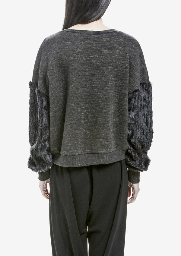 Berenik Sweater Long Sleeves Cotton/Cotton Mix Fur - Dark Gray Mottled