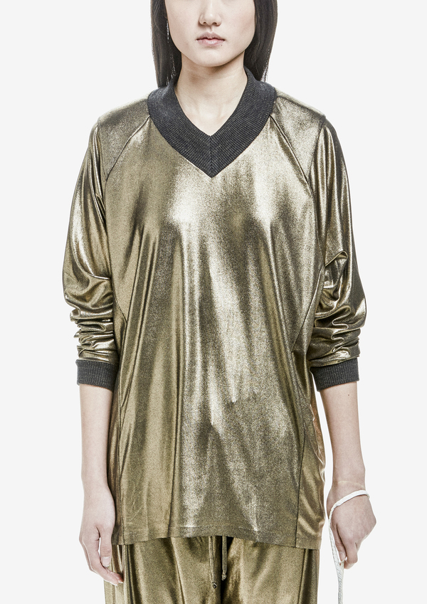 Berenik Sweater Long Sleeve V-Collar Metallic Cotton Jersey Gold