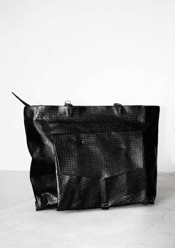 Berenik Black Woven Leather Bag/Backpack