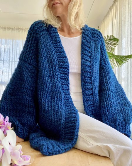 Bozidara Hand Knit Shoulder Detail Cardigan - Cyan