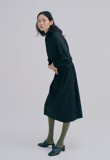 WNDERKAMMER Zip up Rib Dress - Black