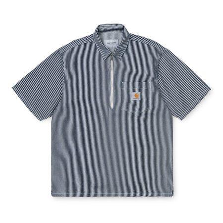 CARHARTT WIP S/S DASH zip SHIRT - BLUE / WHITE RINSED