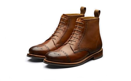 Grenson SHANE Handpainted Lace Up Boot - Tan