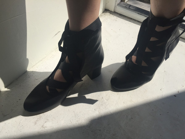 """INTENTIONALLY __________."" ANIA Black Leather Bootie"