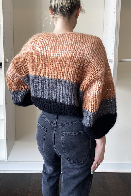 Maiami Big Sweater Color Block - Camel/Grey