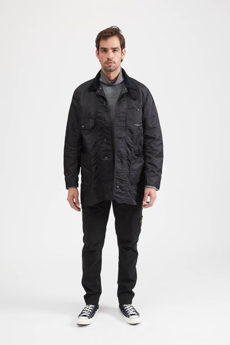 Engineered Garments LONG LOGGER JACKET FLIGHT SATIN NYLON - BLACK