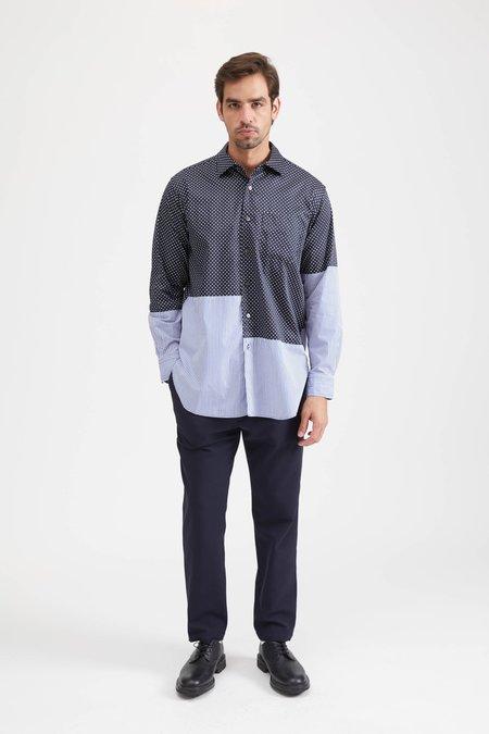 Engineered Garments SPREAD COLLAR SHIRT IN COTTON BIG POLKA DOT BROADCLOTH - NAVY