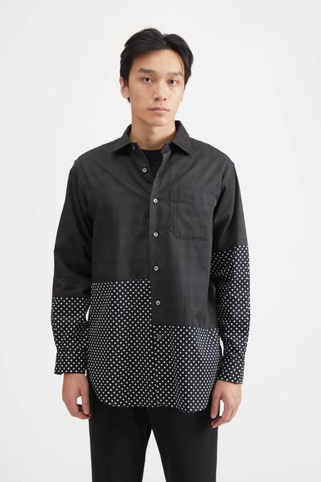 Engineered Garments SPREAD COLLAR SHIRT IN TWILL PRINTED GLEN PLAID - GREY