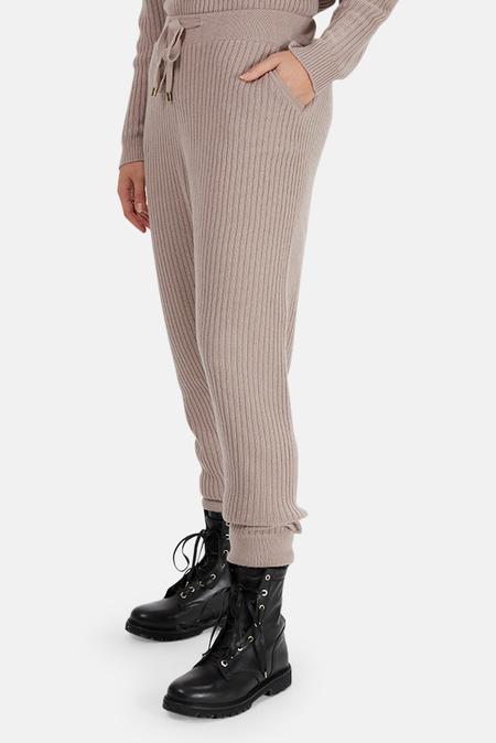 The Tile Club Florence Ribbed Cashmere Pants - Mauve