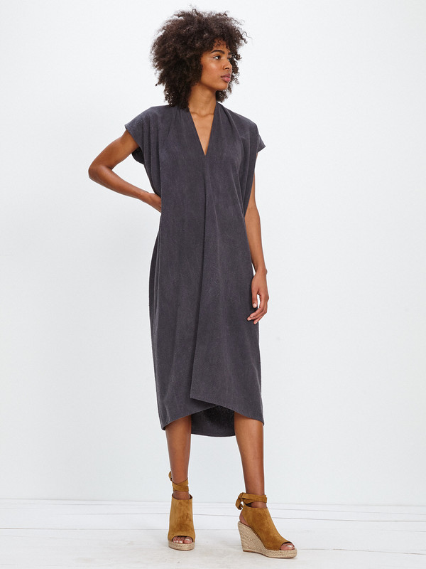 Miranda Bennett OVERSIZE EVERYDAY DRESS / COAL SILK NOIL