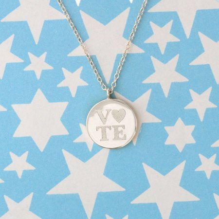 Kris Nations Vote Heart Necklace - Silver