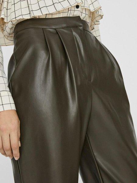 VERO MODA Vegan Leather Trousers - Dark Green