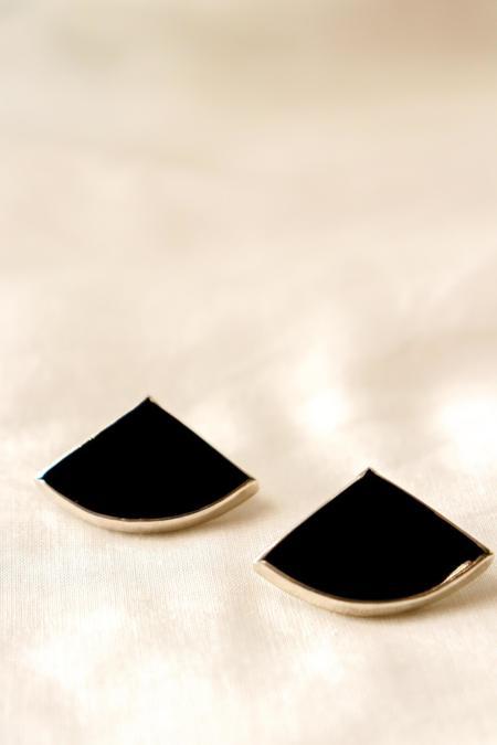 Octave Jewelry Mini Fan Stud Earring -  Black Mother of Pearl