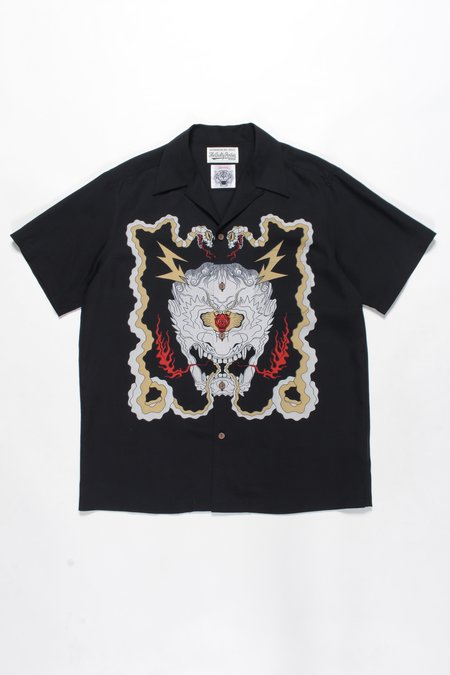 WACKO MARIA x WOLF'S HEAD SHORT SLEEVE Raiden Hawaiian Shirt - Black