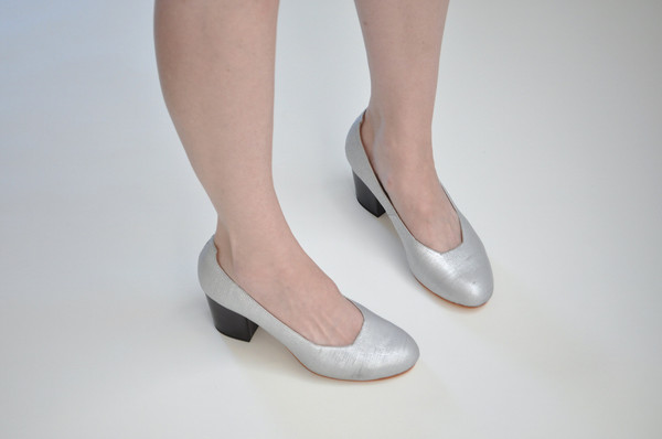 The Palatines Shoes saturo pump - textured silver leather