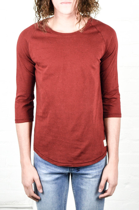 Men's Nudie Burnt Red Quarter Sleeve Tee
