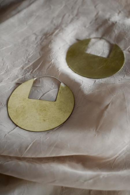 Modern Madini Circle Disc Earrings with Square Cutout