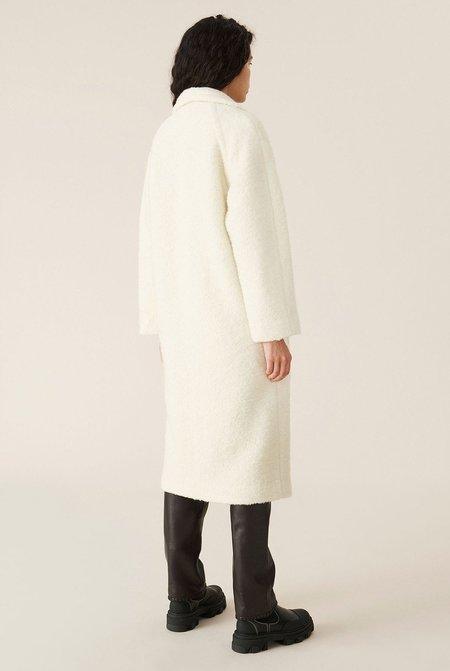 Ganni Boucle Wool Long Wrap Coat