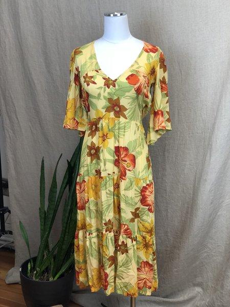 Pre-loved Faithful the Brand Hawaiian Dress - yellow/orange multi