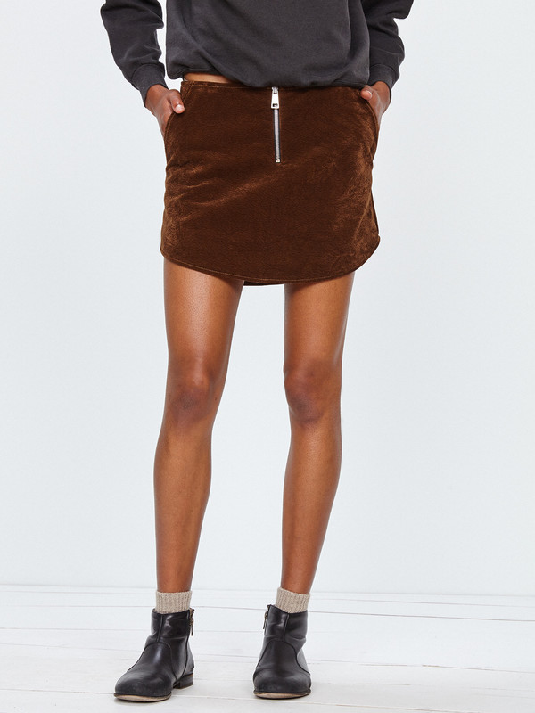 ÁERON STRUCTURED VELVET MINI SKIRT