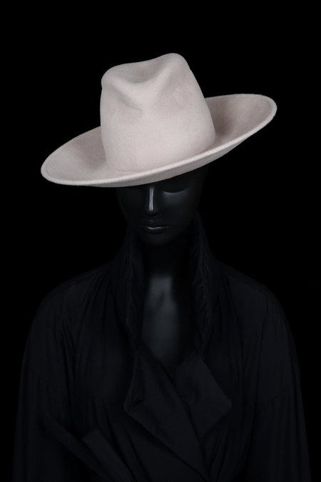 Esenshel Split Wide Curved Brim Hat - Bone