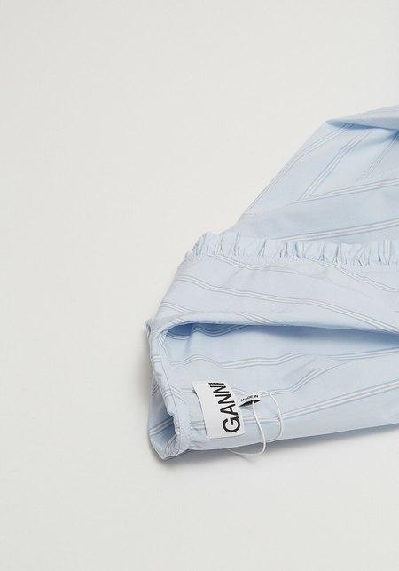 Ganni Stripe Cotton Blouse - Heather Blue