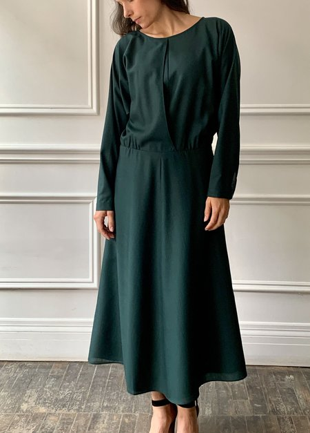INDRESS Batwing Wool Voile Dress - Strong Green