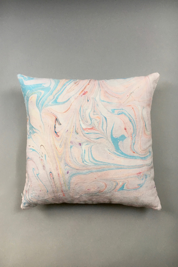 Christina Kosinski Marbled Linen Pillow - Pink/Blue
