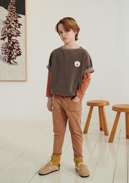 Kids Weekend House Kids Gondolier Short Sleeve Sweatshirt - Dark Brown