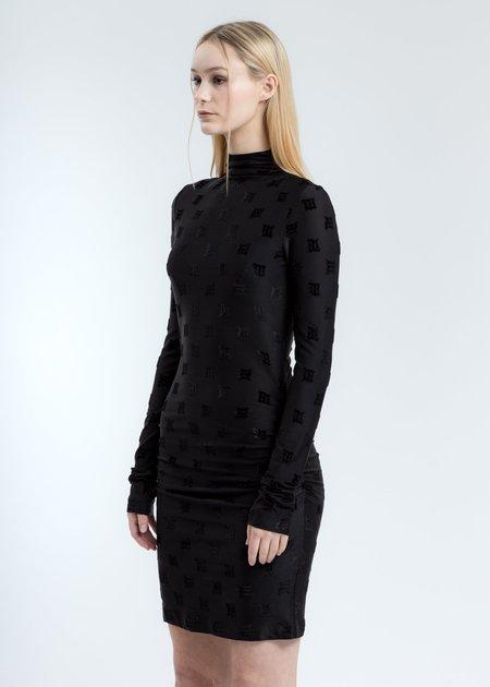 MISBHV Velour Monogram Long sleeve Dress - Black