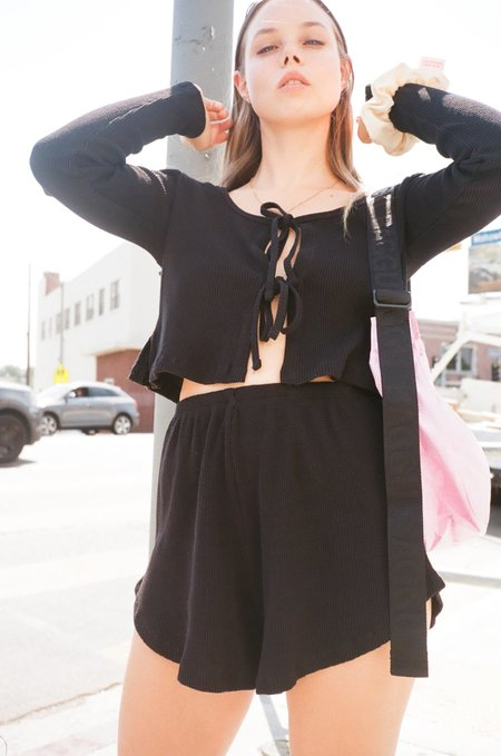Lisa Says Gah Mia Long Sleeve Top - Obsidian